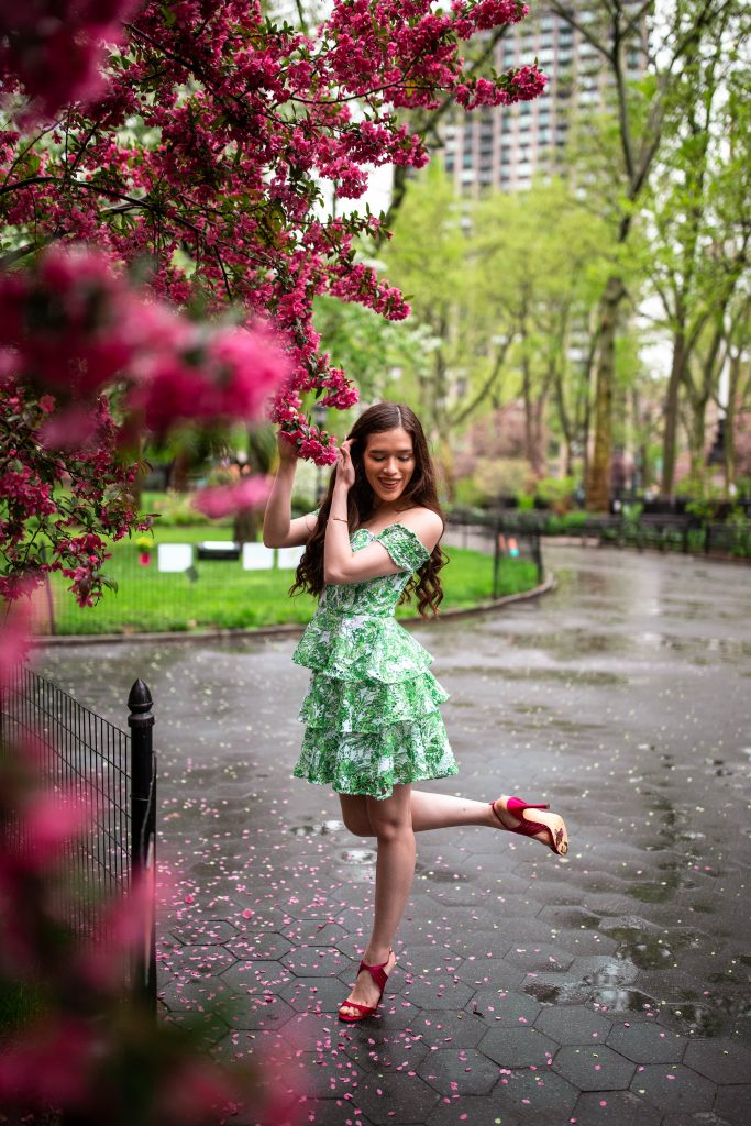 Eva Phan of Eva Darling NYC preppy style blogger in Lilly Pulitzer Cicely Off the Shoulder Dress in resort white flamingle southern style palm beach fashion outfit inspiration nina Damaris Rose high heels shoes pink sandal what to wear with Lilly Pulitzer where to see cherry blossoms New York City