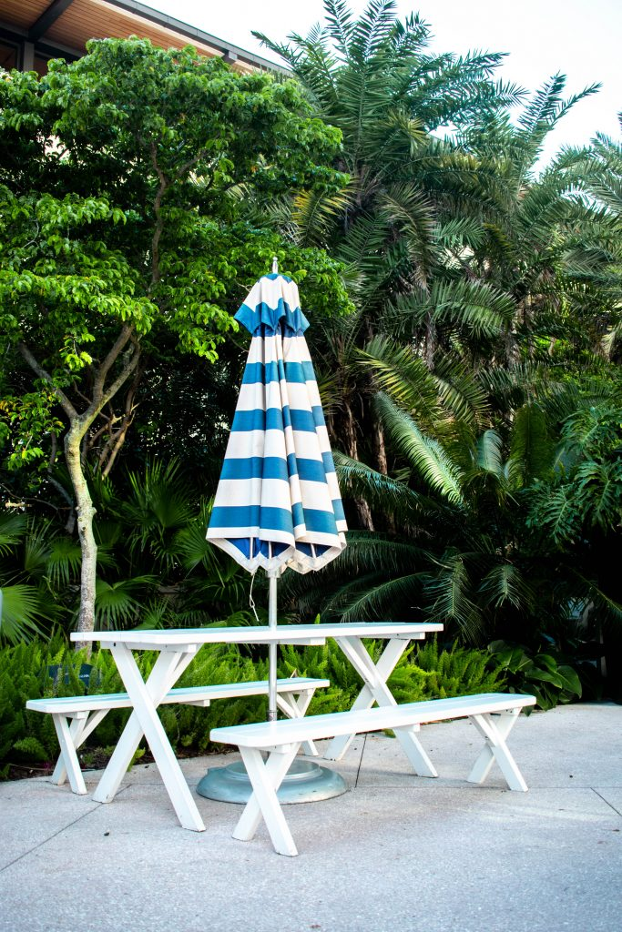 white and blue poolside picnic table hilton west palm beach