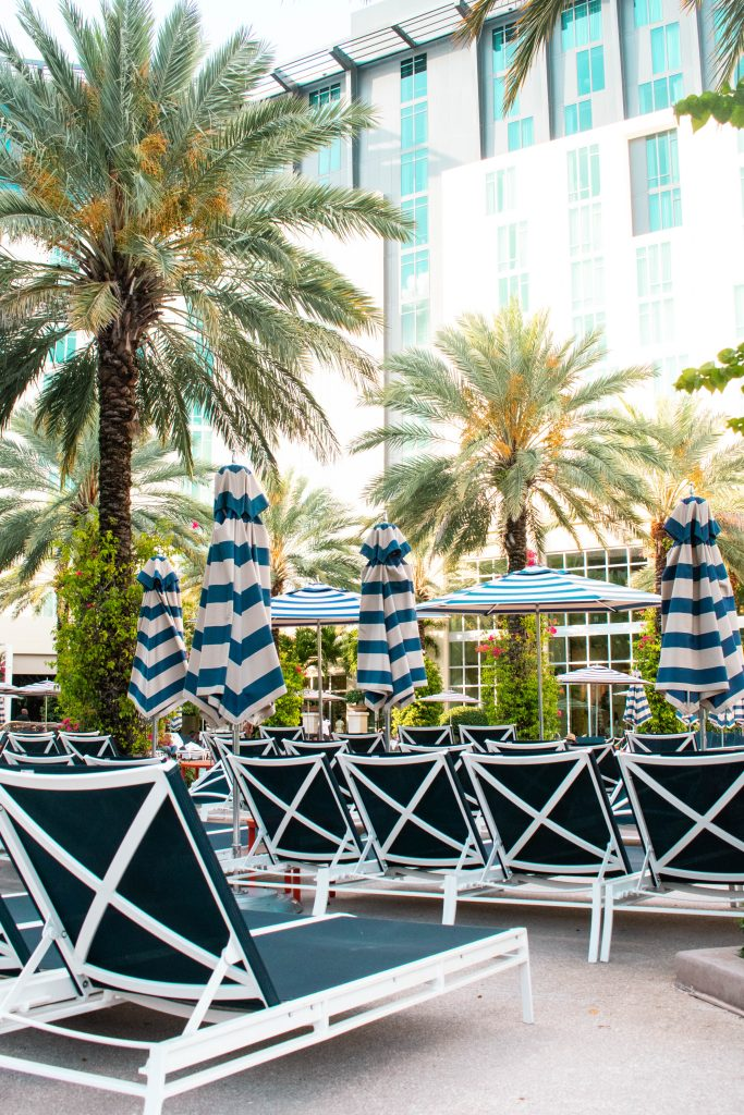 poolside chairs at the Hilton West Palm Beach Hotel