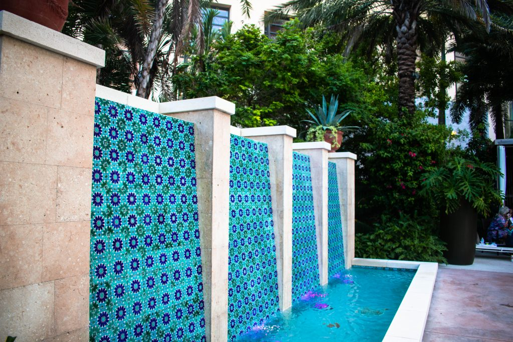 blue and purple tilework at the Hilton West Palm Beach