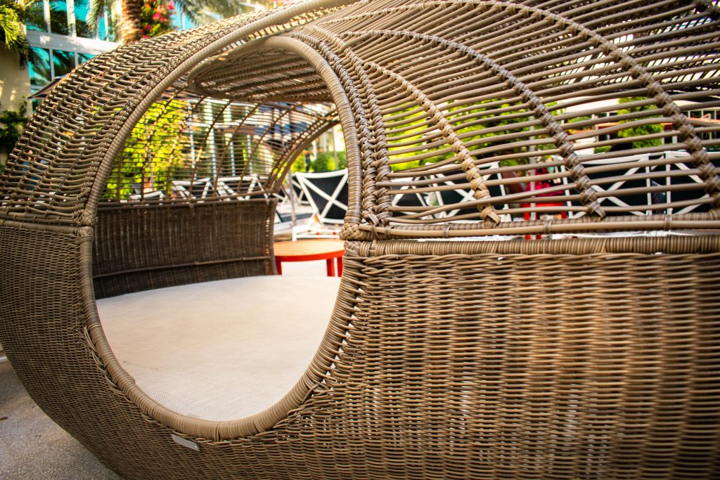 poolside wicker day bed at the Hilton West Palm Beach