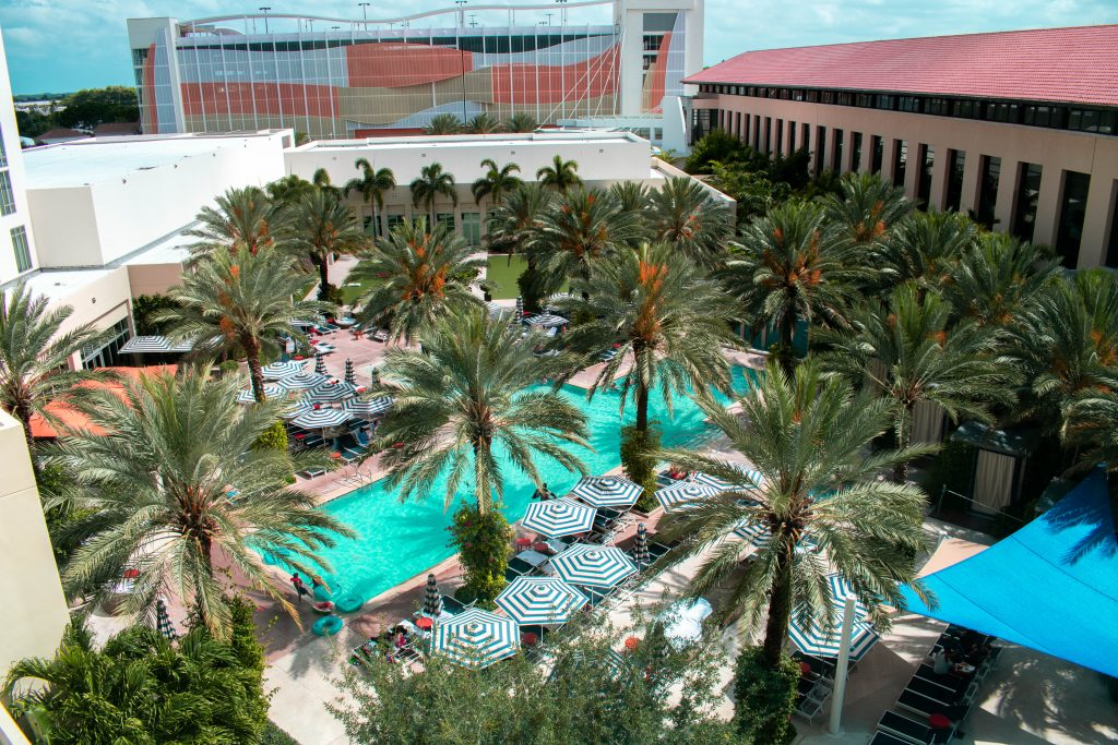 aerial pool view from the queen junior suite at the Hilton West Palm Beach