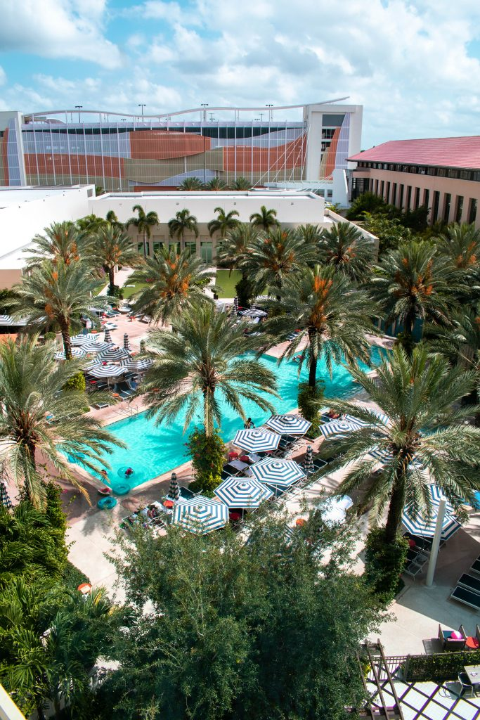 Beautiful poolside view from the queen junior suite at the Hilton West Palm Beach