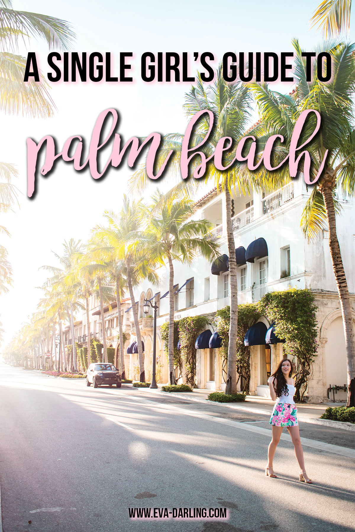 a single girl's guide to palm beach florida worth avenue lilly pulitzer nicki skort via flora travel blogger where to go in florida safe solo female travel destination what to do in palm best pbi island Eva Phan of Eva Darling forever 21 white peplum crop top gucci marmont gold leather sandals