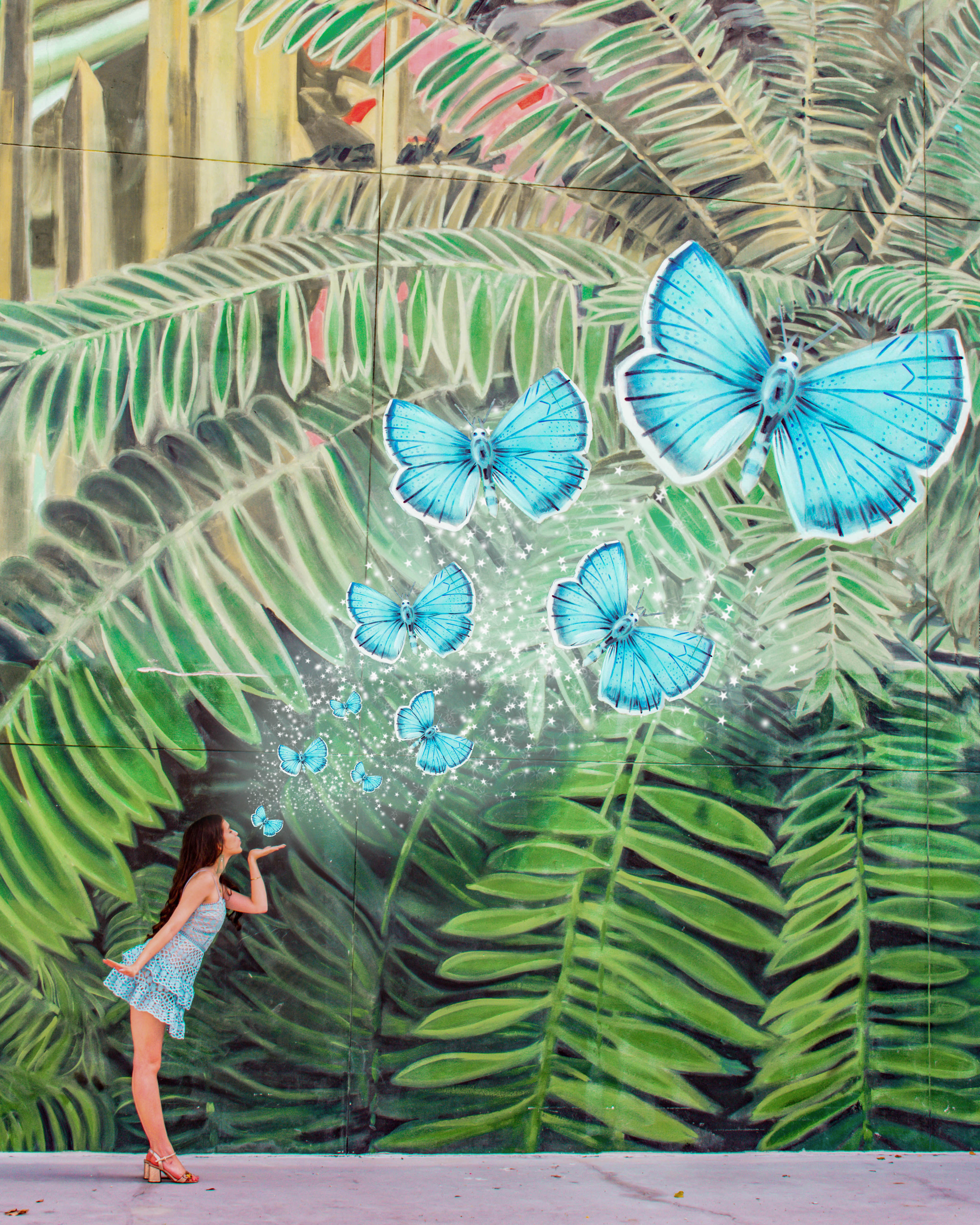 Eva Phan Eva Darling Miami Design District Jungle Plaza 2x4 Butterfly Mural instagrammable places to go in miami Instagram worthy street art lulu's beauty and lace sky blue dress gucci gold leather sandals dreamy wanderlust surrealism photoshop edit travel blogger