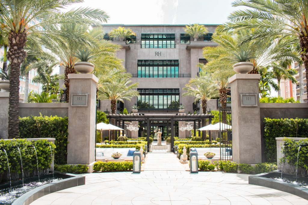 restoration hardware westpalm flagship west palm beach florida gallery entrance patio decor inspiration florida