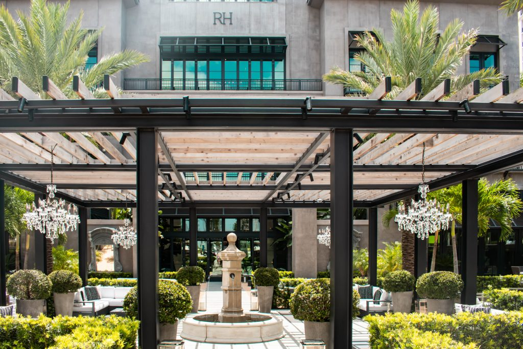 restoration hardware westpalm flagship west palm beach florida gallery entrance patio decor inspiration