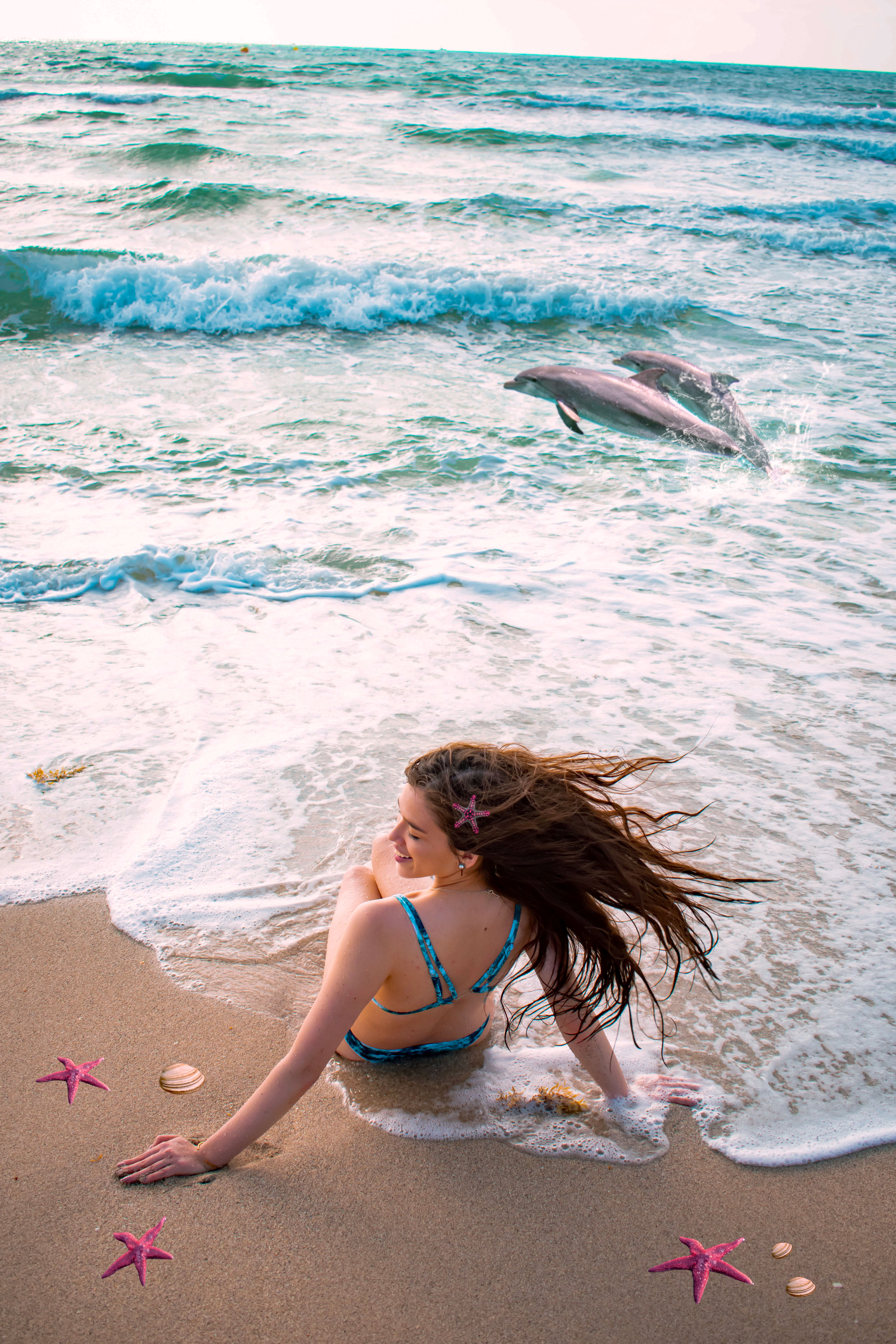 Eva Phan of Eva Darling south beach miami florida dolphins dreamy edit surrealism photoshop shein swimsuit bikini inexpensive trendy swimwear what to do in miami travel guide travel blogger long brown hair brunette beach waves