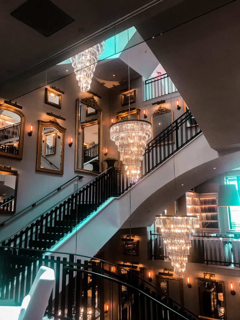 Restoration Hardware WestPalm chandelier staircase opulent luxury interior design inspiration west palm beach florida flagship store