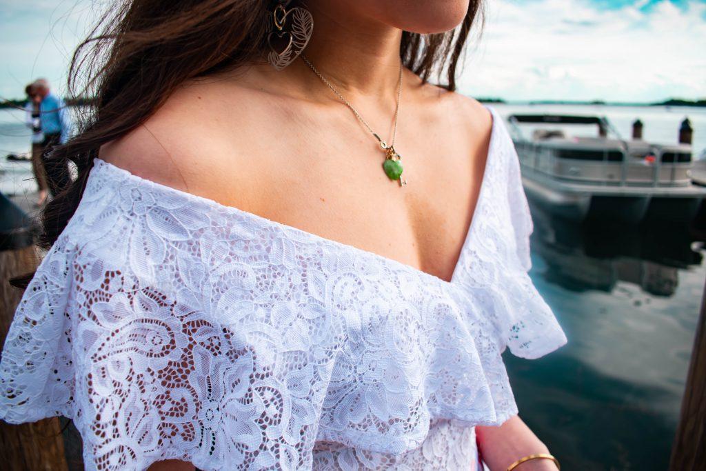 Eva Phan of Eva Darling lake minnetonka wayzata minnesota xoxo clothing trendy summer outfit inexpensive college girl style white lace bodysuit style travel blogger mn