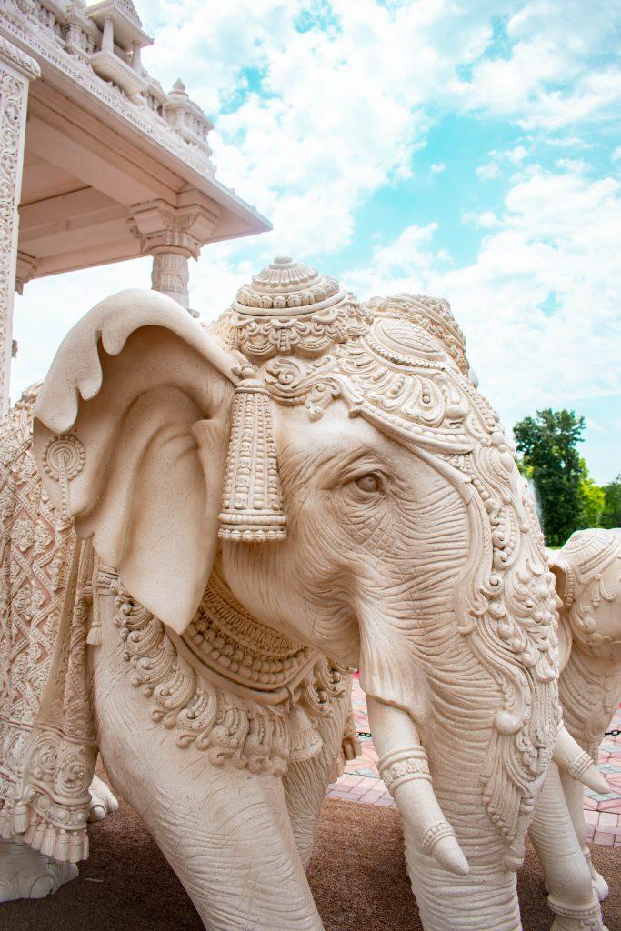 BAPS Shri Swaminarayan Mandir temple chicago il illinois marble elephant hindi hindu sculpture temple