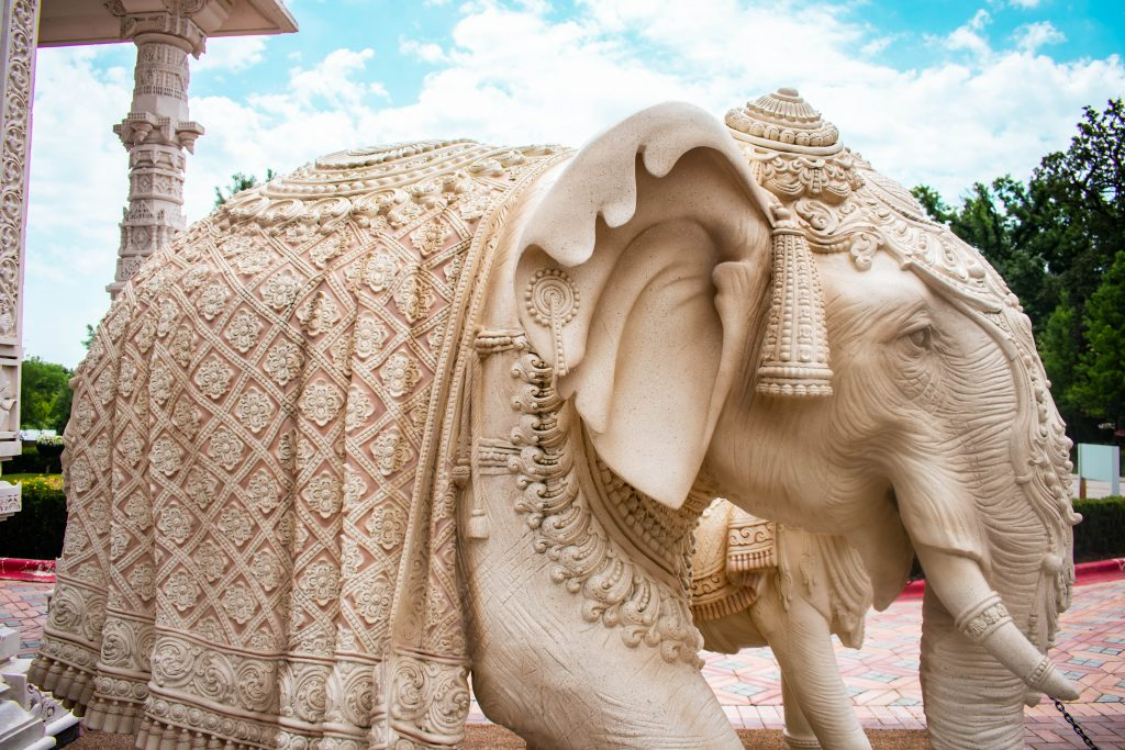 ornate hand carved marble elephant indian art architecture