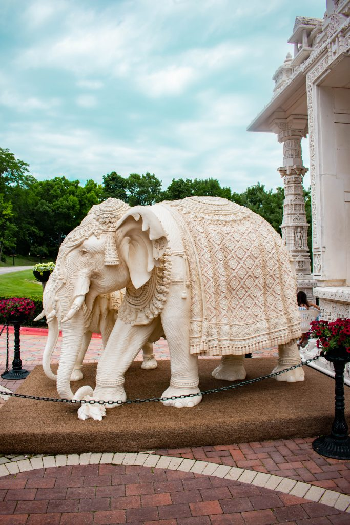 BAPS Shri Swaminarayan Mandir temple chicago il illinois marble elephant hindi hindu sculpture temple indian art and design