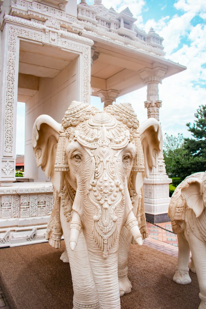 BAPS Shri Swaminarayan Mandir temple chicago il illinois marble elephant hindi hindu sculpture temple indian art and design intricate travel destination idea
