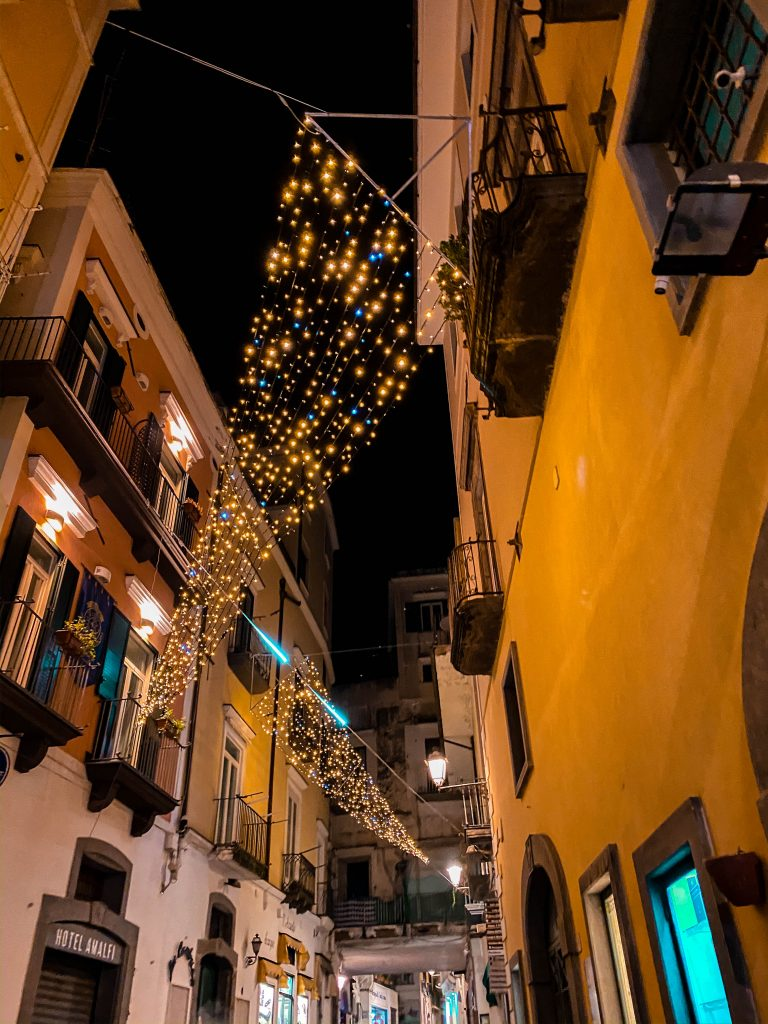 Amalfi province of salerno amalfi coast italy holiday lights street lights off season winter