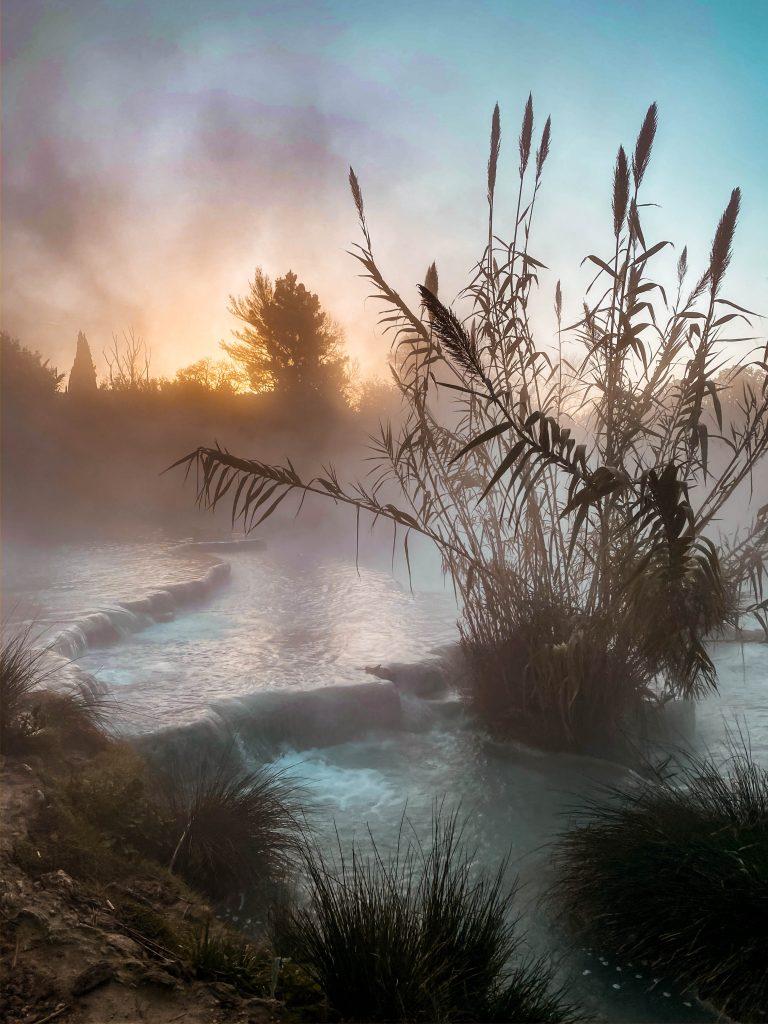 cascate del mulino maremma marciano saturnia tuscany sunrise