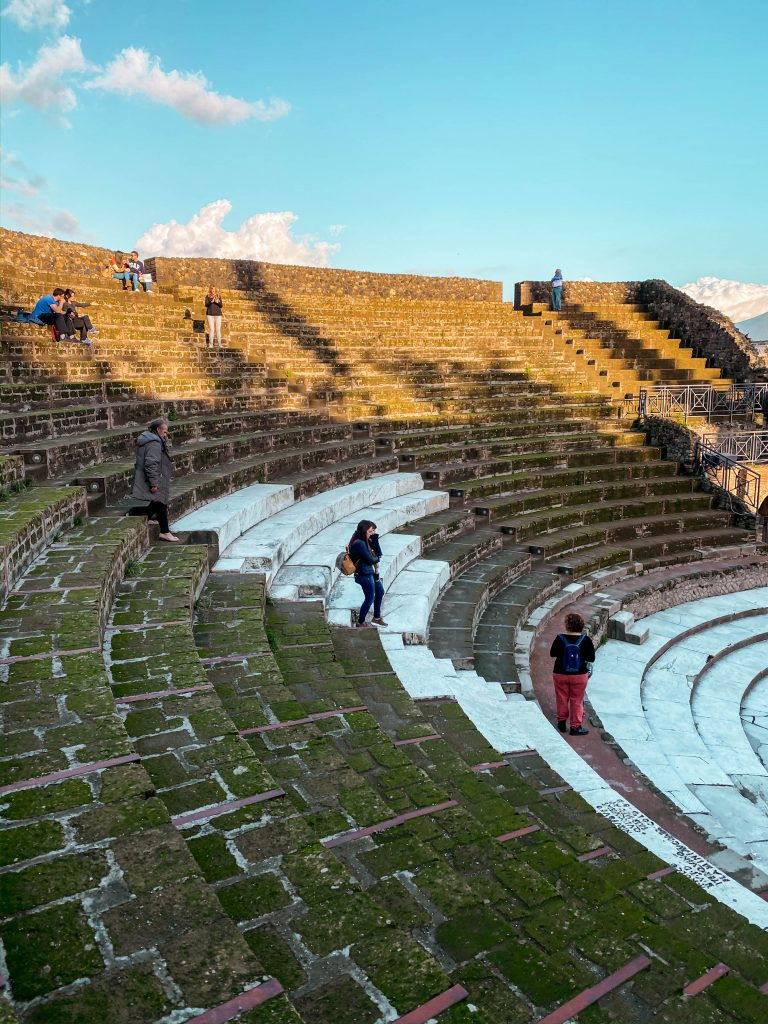 teatro grande great theatre of pompeii ruins italy unesco moss