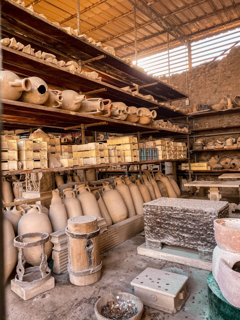 pompeian pottery foro civile civil forum pottery studio ruins pompeii italy