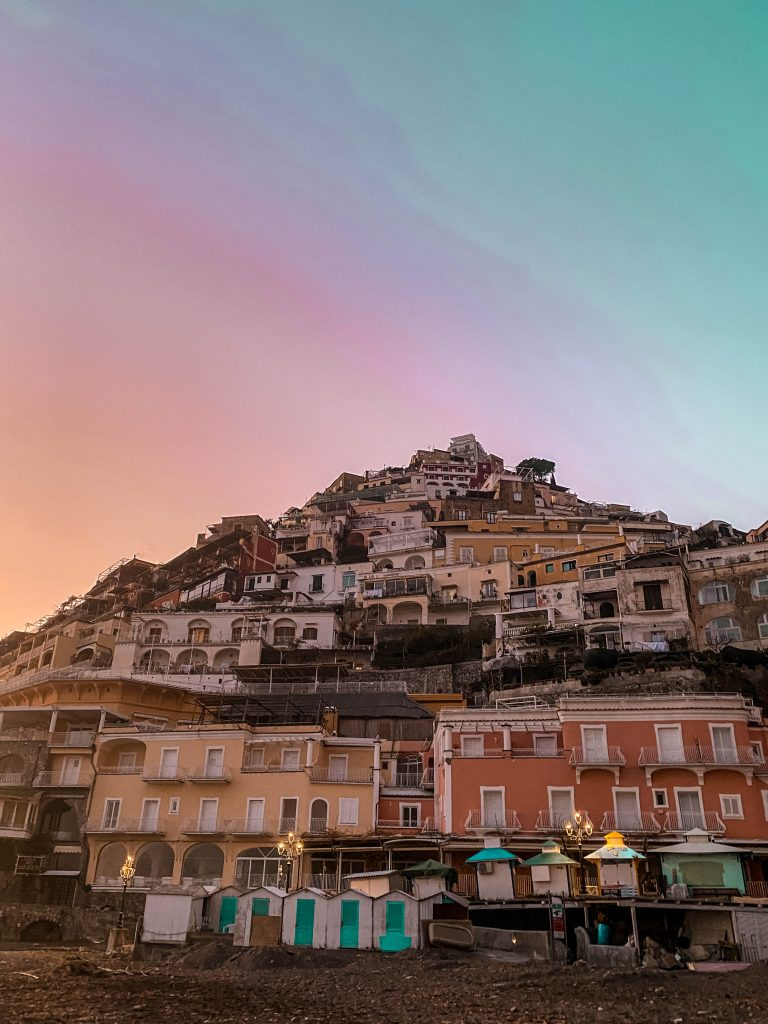 positano italy hill sunset golden hour winter off season amalfi coast road trip destination wanderlust