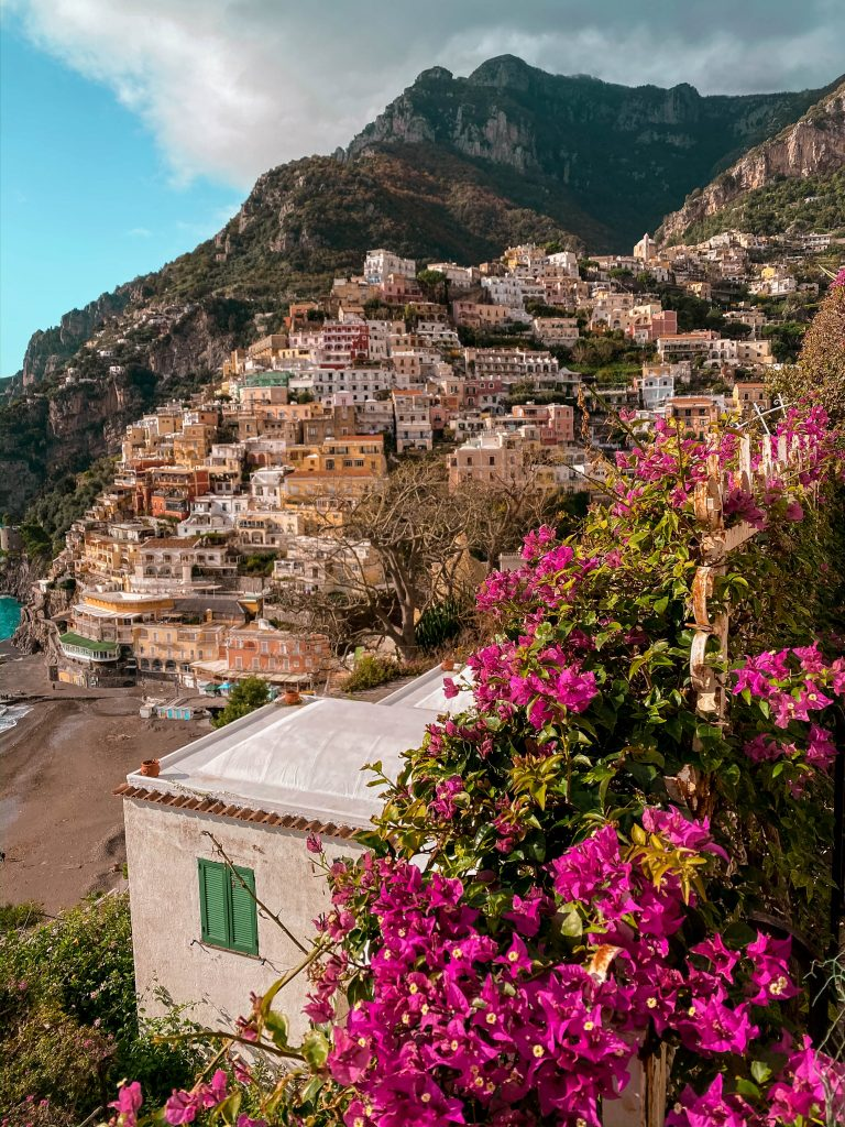 Positano overlook bougainvillea flowers amalfi coast italy province of salerno
