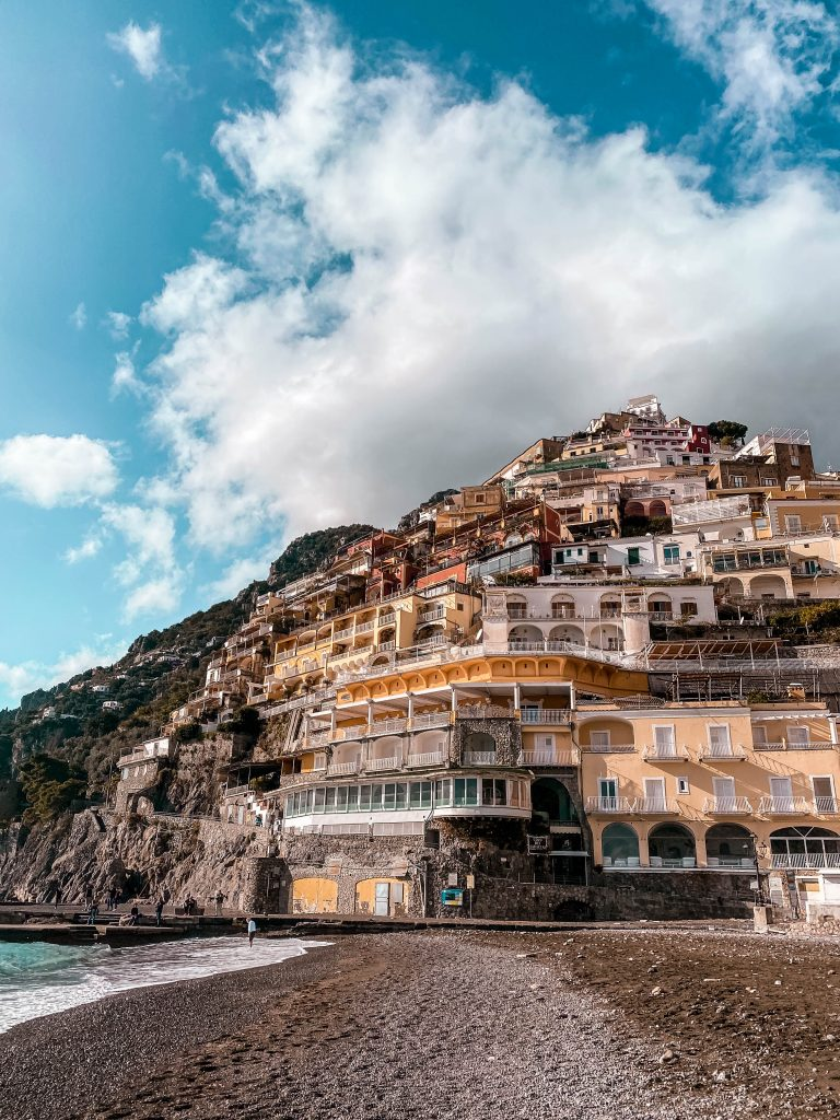 positano beach empty winter off season
