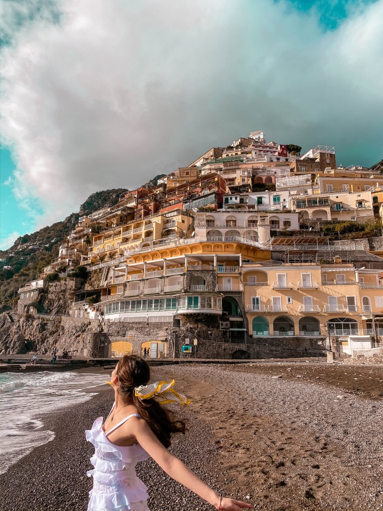 Amalfi Coast Positano Hill Beach empty winter off season italy province of salerno solo female travel lilly pulitzer white olive dress summer holiday