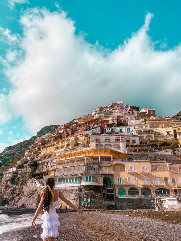 positano beach winter off season empty province of salerno amalfi coast italy lemon lilly pulitzer olive dress travel blogger solo female travel