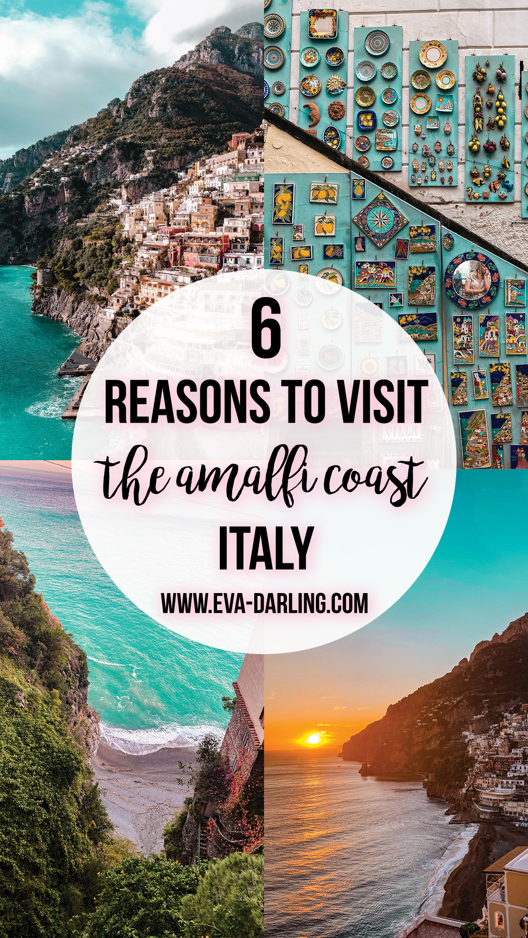best things to do on the amalfi coast where to go in italy road trip destination europe things to do in positano amalfi coast winter off season travel blogger eva darling eva phan plate wall beach travel tips southern italy province of salerno solo female travel traveler sunset amalfi