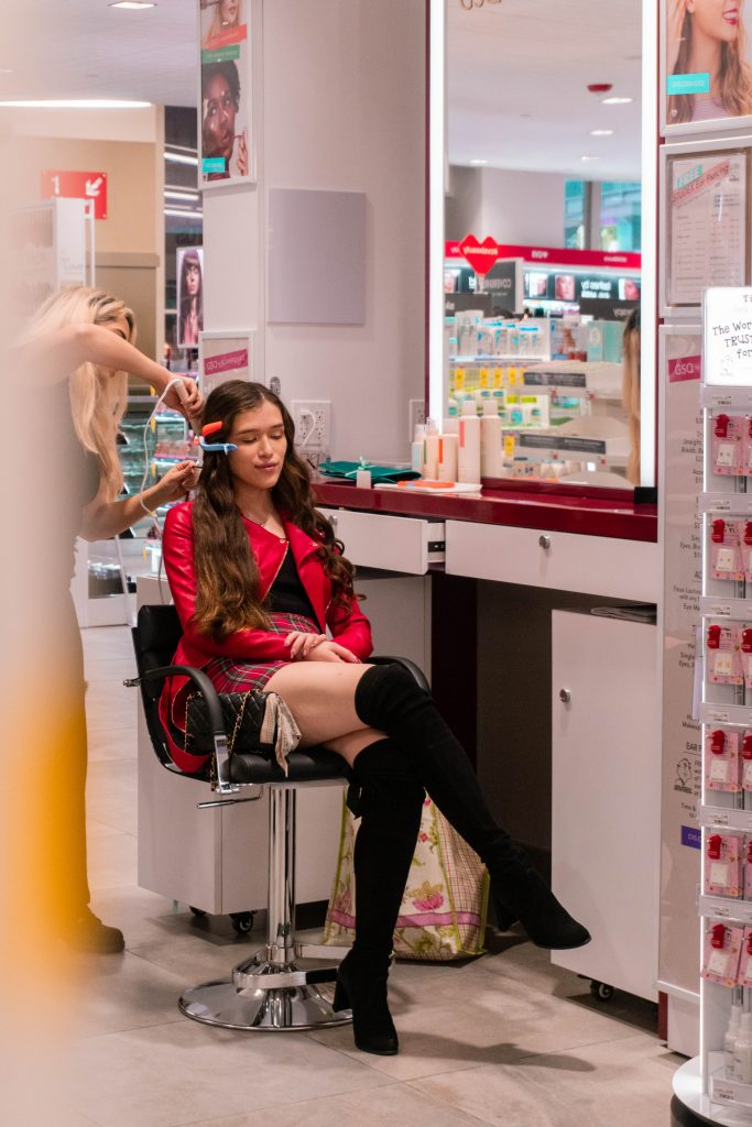 eva phan eva darling cvs beauty destination nyc times square gsq by glamsquad hair styling oh polly stuart weitzman hiline