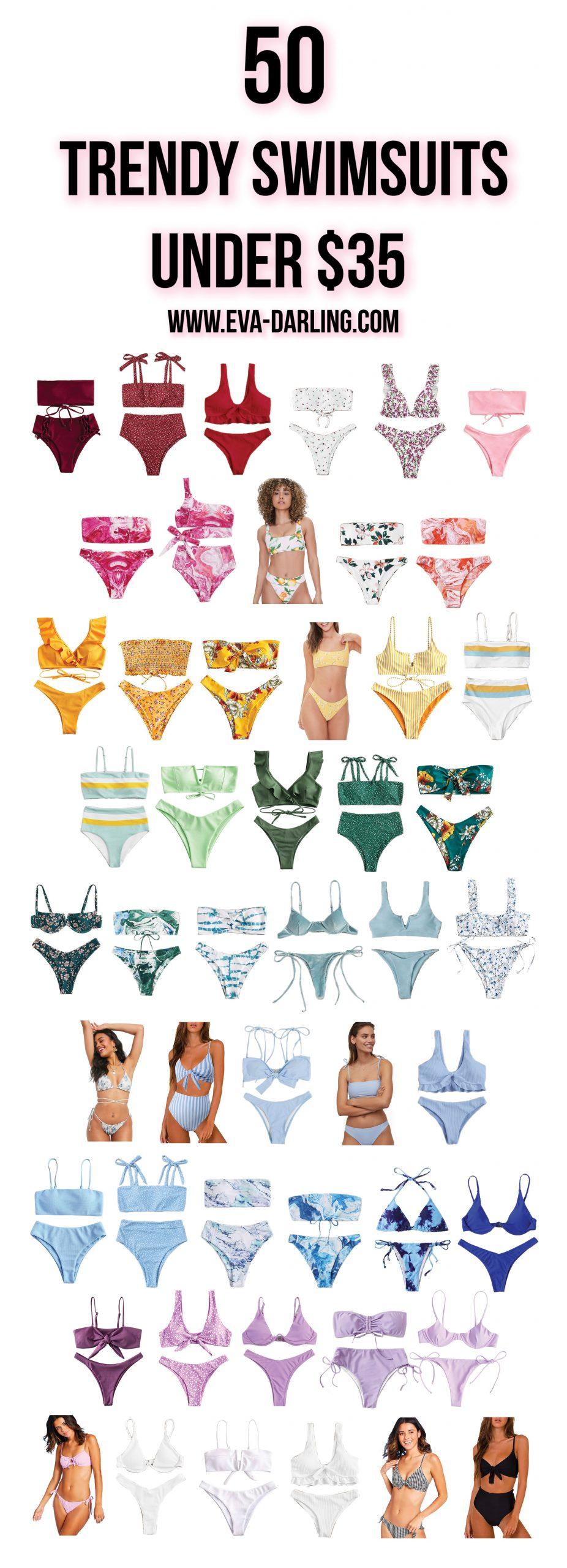 50 inexpensive bikinis flattering cute trendy swimwear cheap swimsuit shein romwe target high waisted waist high leg bikini tie dye floral trendy clothing college girl