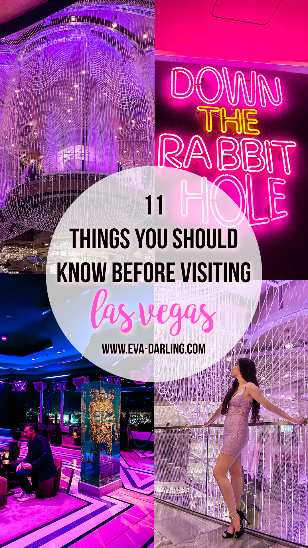 11 things to know before your first time in las vegas, cosmopolitan of las vegas resort, chandelier bar, apex rooftop social club, down the rabbit hole neon sign travel guide