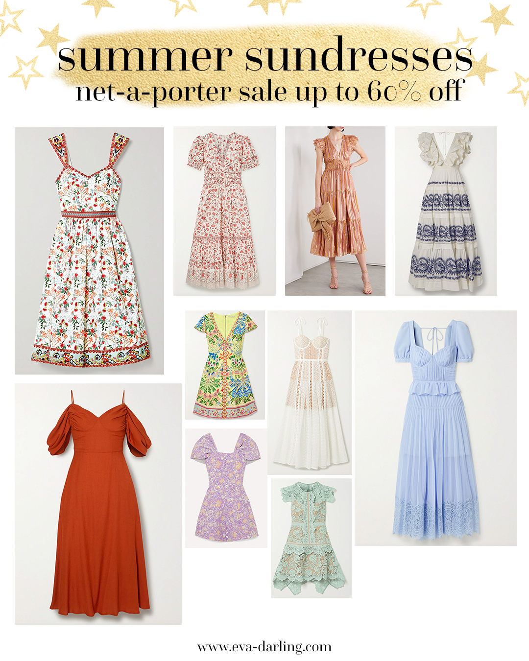 summer sundress, designer dress sale at net-a-porter, cult gaia, ulia johnson, self portrait, alice and olivia, rotate birger christensen