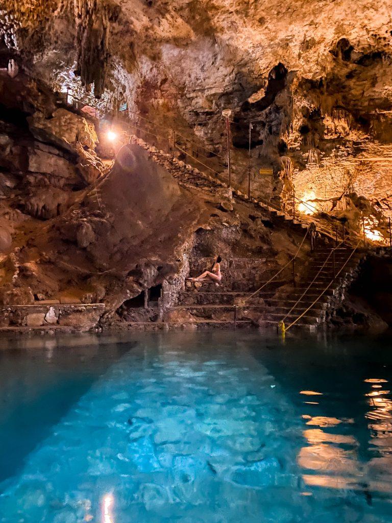 steep rock stairs cenote suytun valladolid yucatan peninsula mexico underground cave swimming unique experience