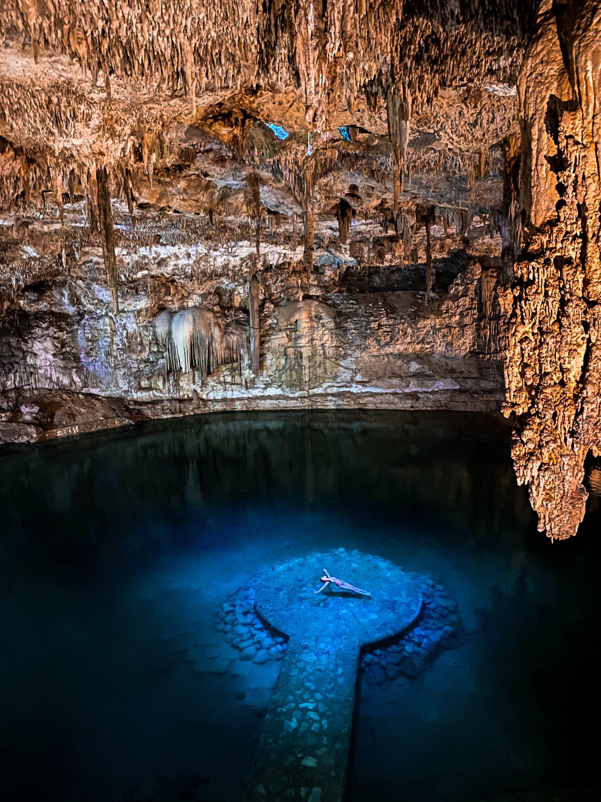 cenote suytun valladolid yucatan peninsula mexico natural swimming cave floating platform