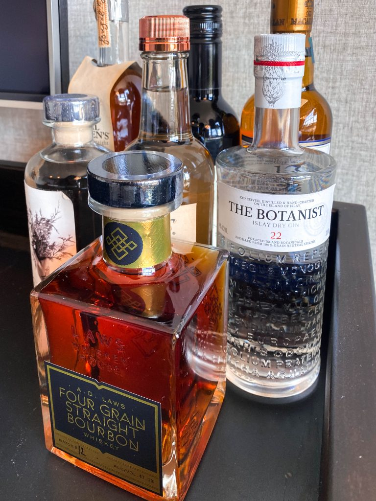 death and co in room mini bar menu denver colorado ramble hotel the botanist ad laws four grain straight bourbon