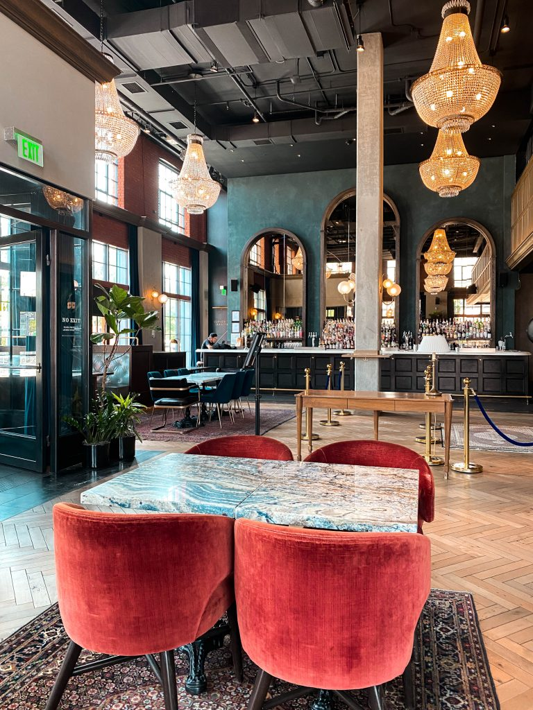 the ramble hotel denver colorado lobby instagrammable chic trendy french decor luxury boutique hotel