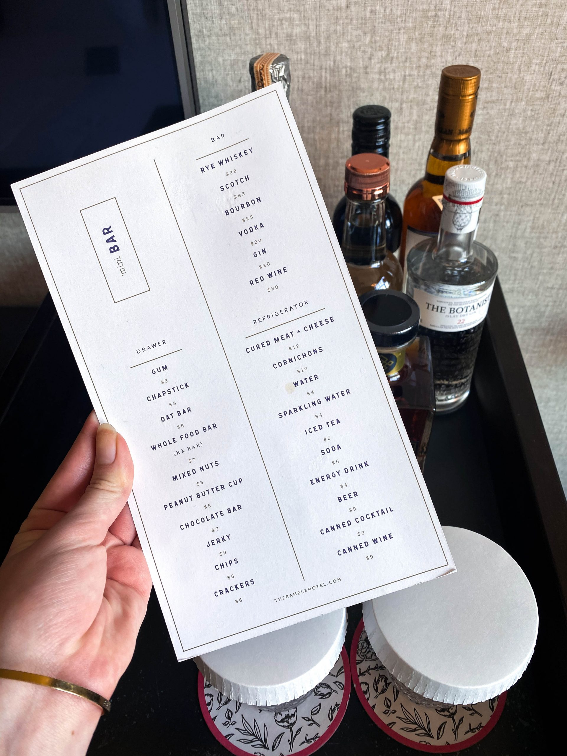 death and co in room mini bar menu denver colorado ramble hotel