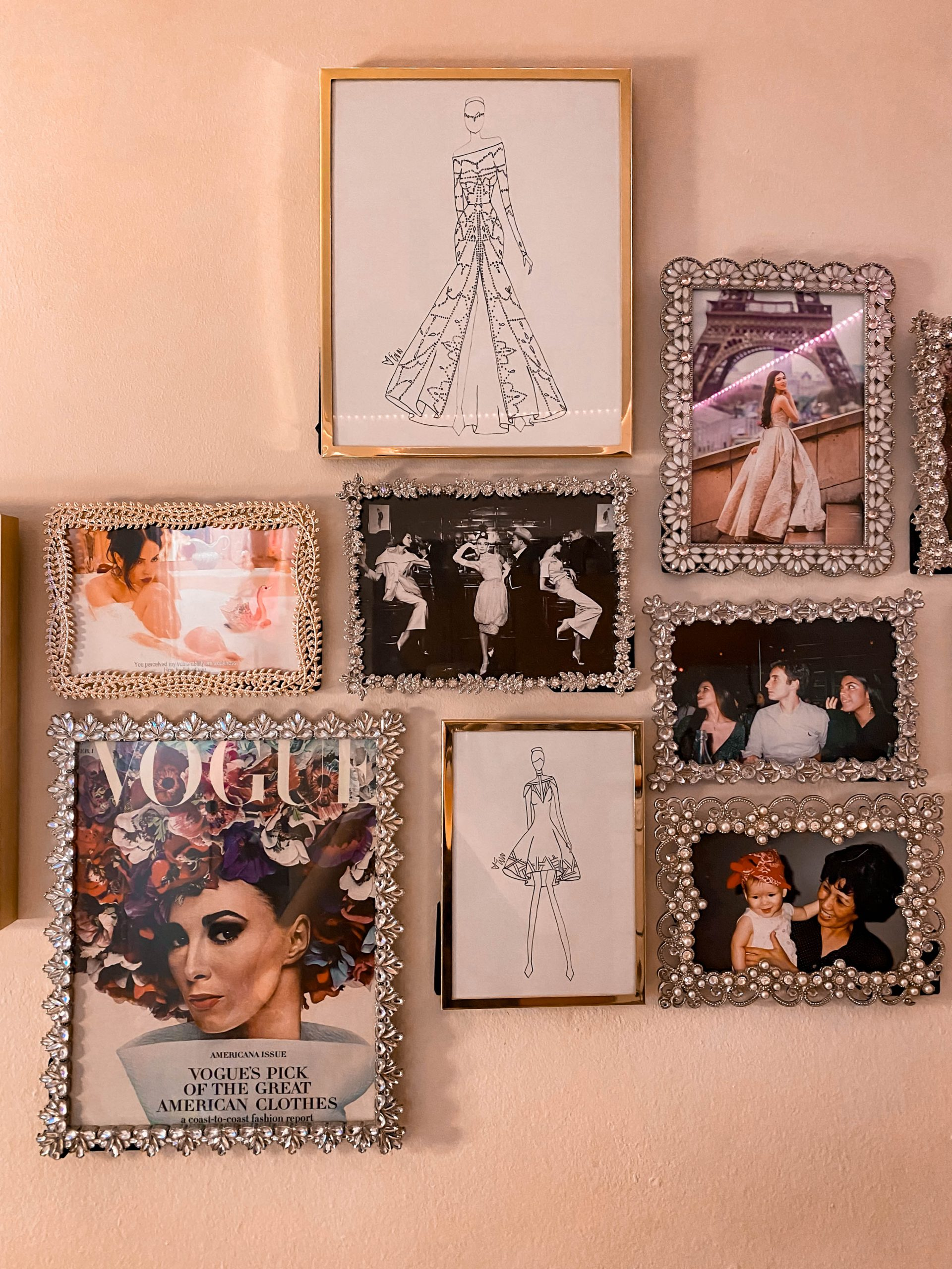 vintage inspired glam gallery wall vogue cover audrey hepburn photo rhinestone picture frame