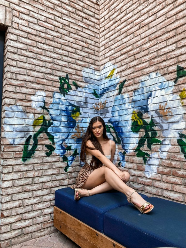 ashley joon art floral painting instagrammable rooftop bar death and co the garden ramble hotel denver colorado photo location girl brunette long straight hair sitting haute hippie cheetah wrap skirt shein cami crop top inexpensive
