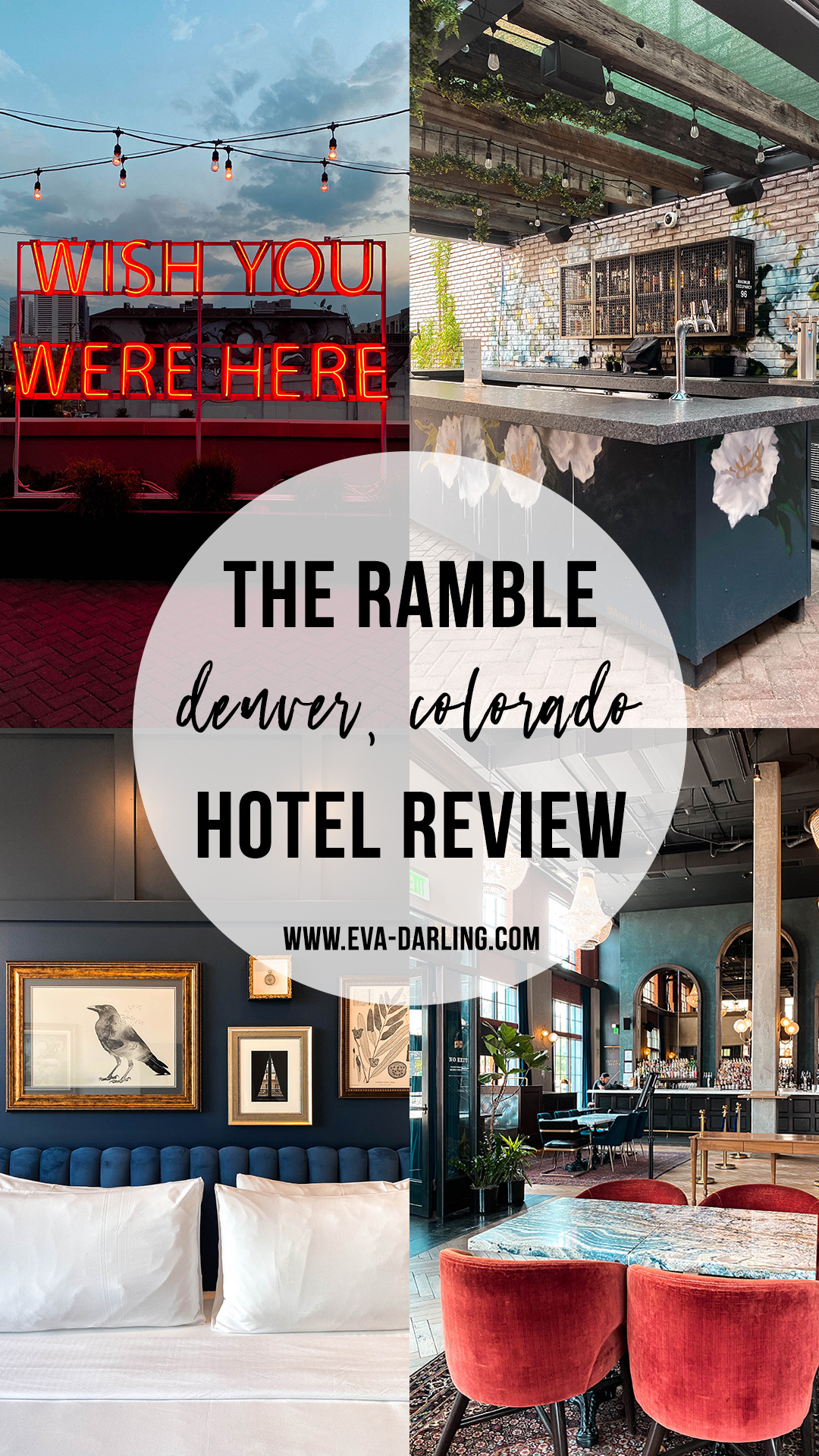 the ramble hotel review instagrammable photo location rino denver colorado where to stay best hotel luxury boutique hotel king room white bedding death and co the garden rooftop patio bar