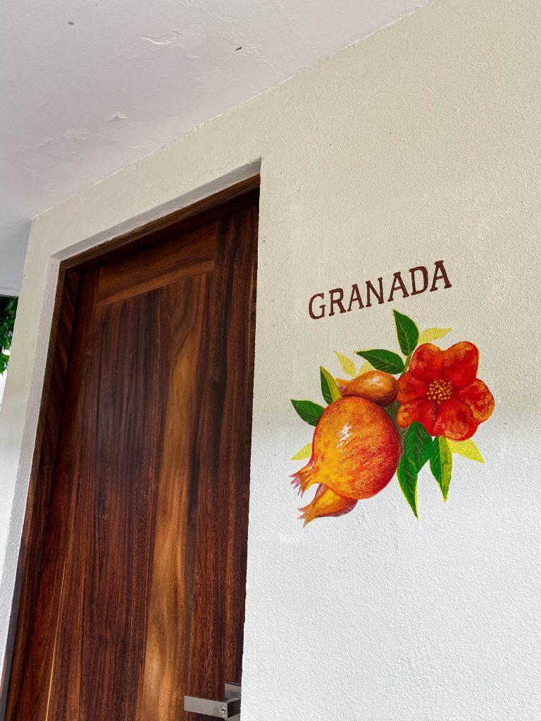 granada room hotel casa ortiz ciudad valles la huasteca potosina san luis potosi mexico pomegranate fruit mural