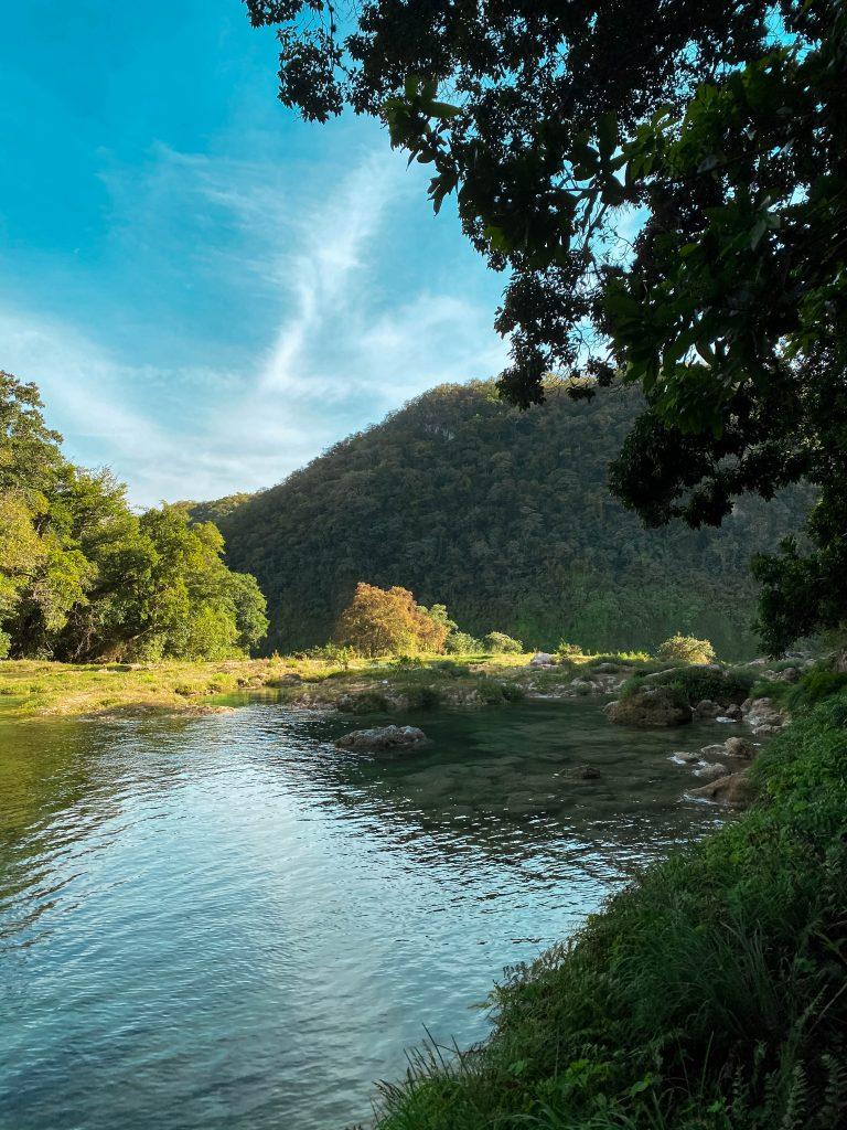 The tops waters of Cascada de Tamul, the Gallinas River, in El Naranjito, San Luis Potosi, Mexico pool