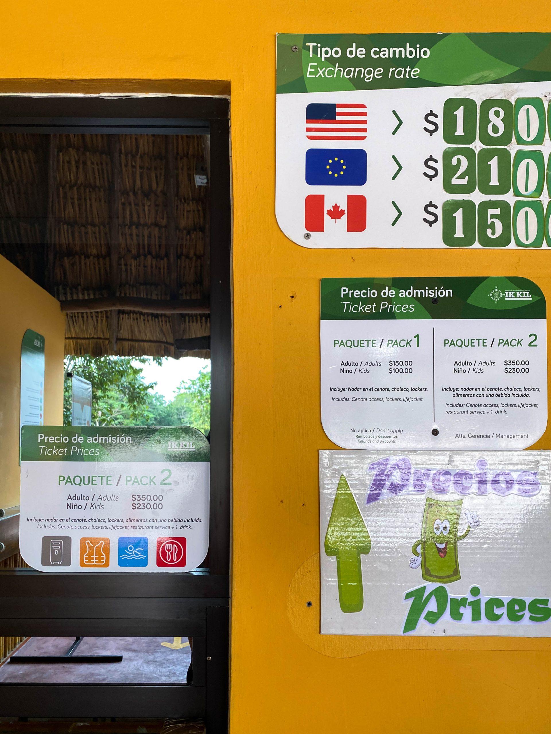 cenote ik kil entrance fee admission price