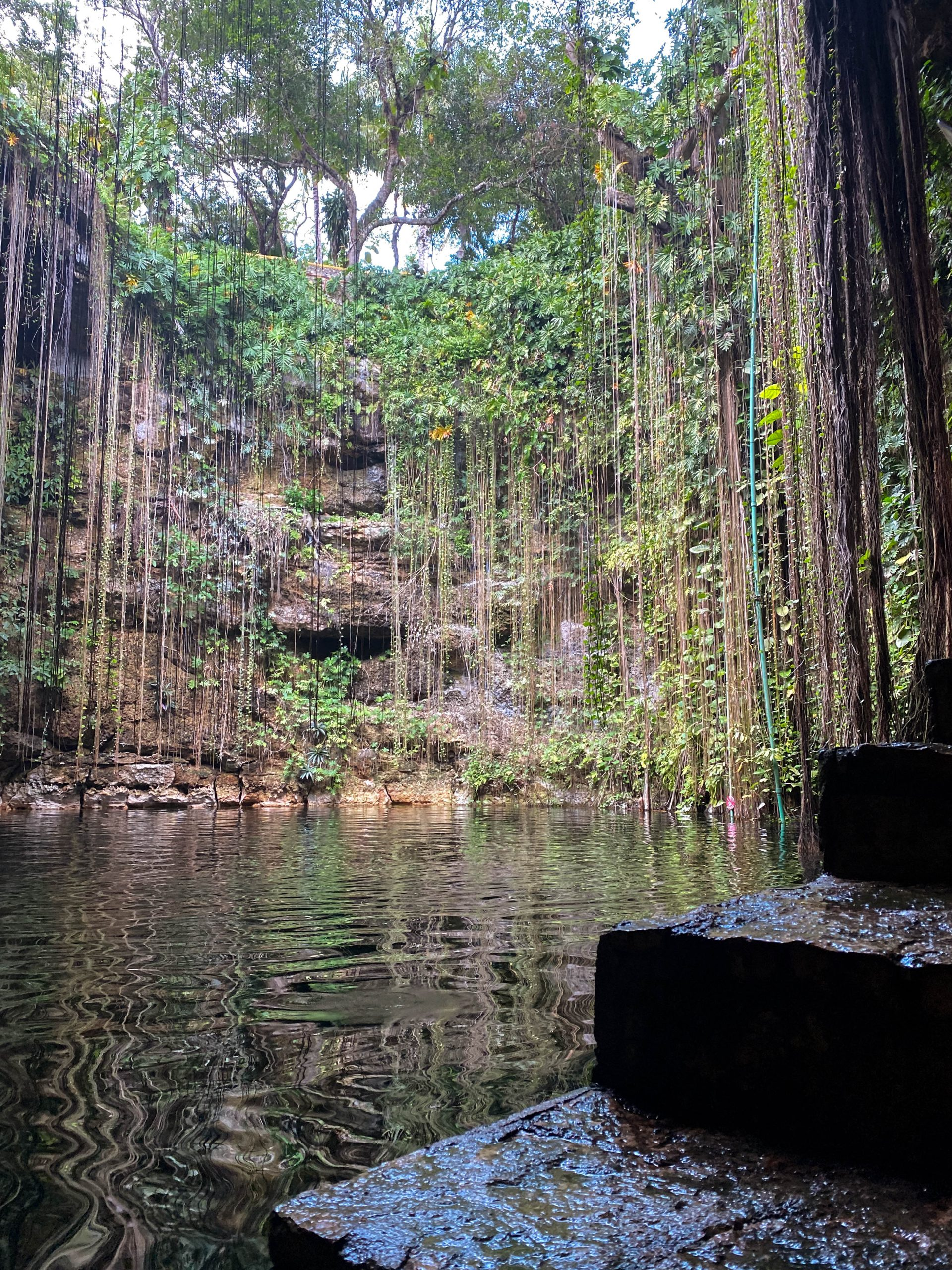 staircase cenote ik kil chichen itza yucatan mexico