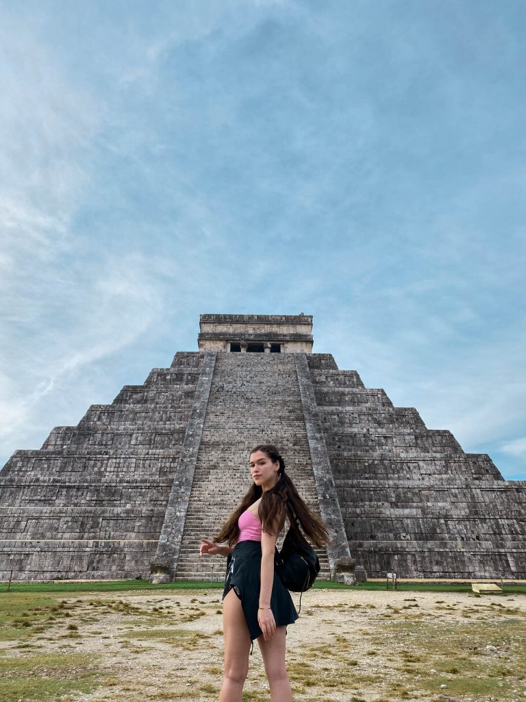 chichen itza el castillo yucatan peninsula mexico day trip rebecca minkoff julian backpack lululemon define jacket meshki cami mayan ruins temple kukulkan pigtails