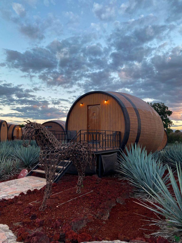 tequila barrel hotel room matices hotel de barricas tequila jalisco mexico horseshoe horse sculpture