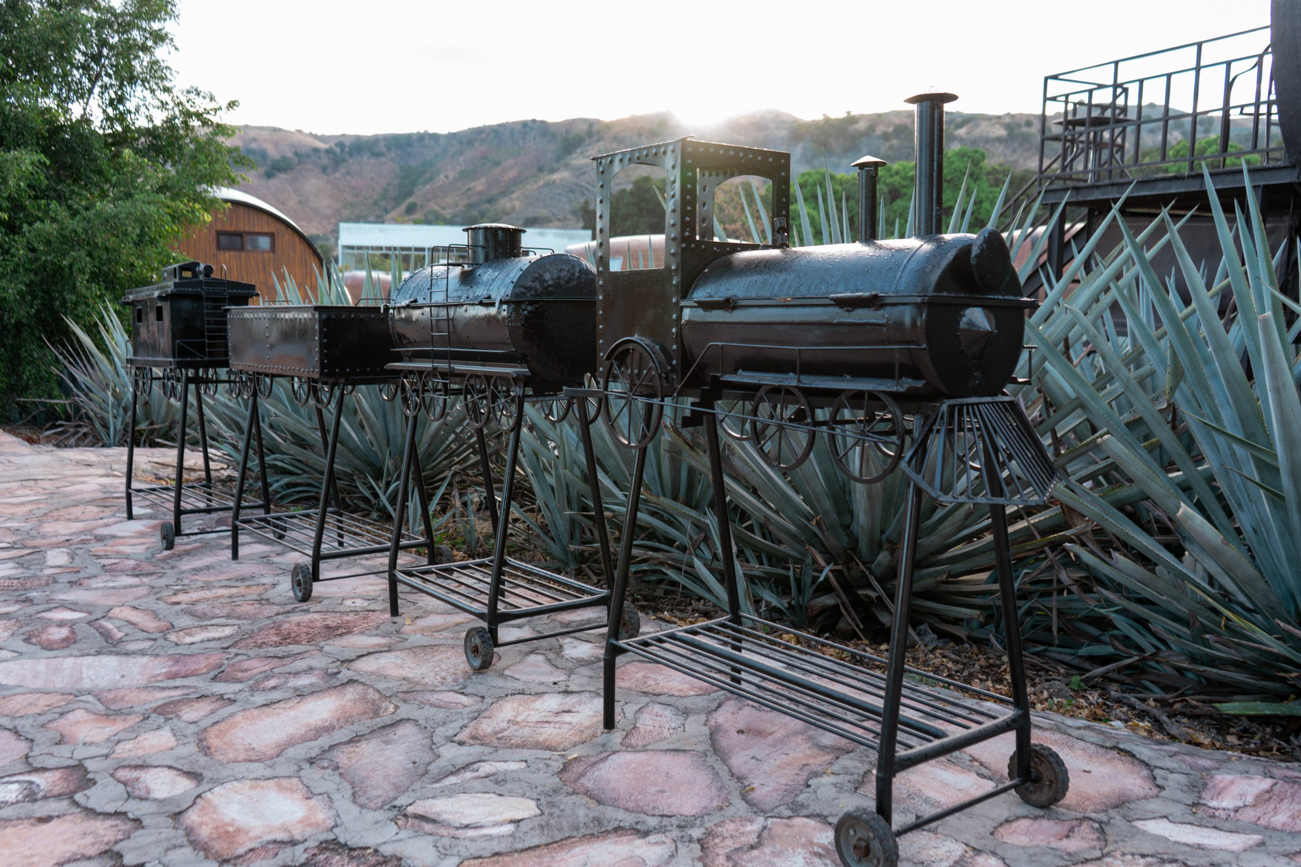 train barbeque barbecue grill blue agave mexico