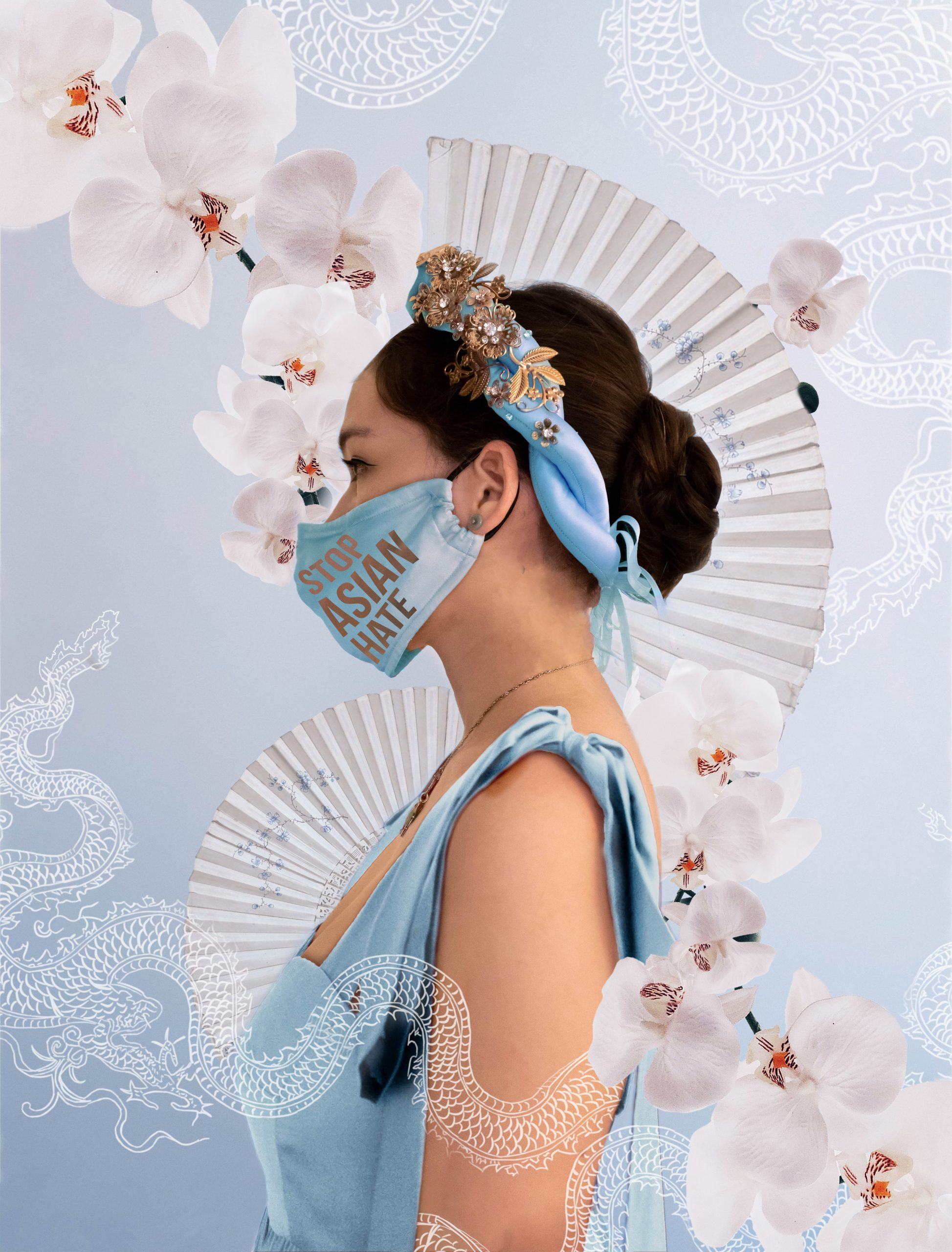 stop asian hate vietnamese woman perrin and co anne dress khan dong ao dai headband white orchid pleated fan hate is a virus white dragon illustrtion blue background face mask anti-asian hate racism awareness