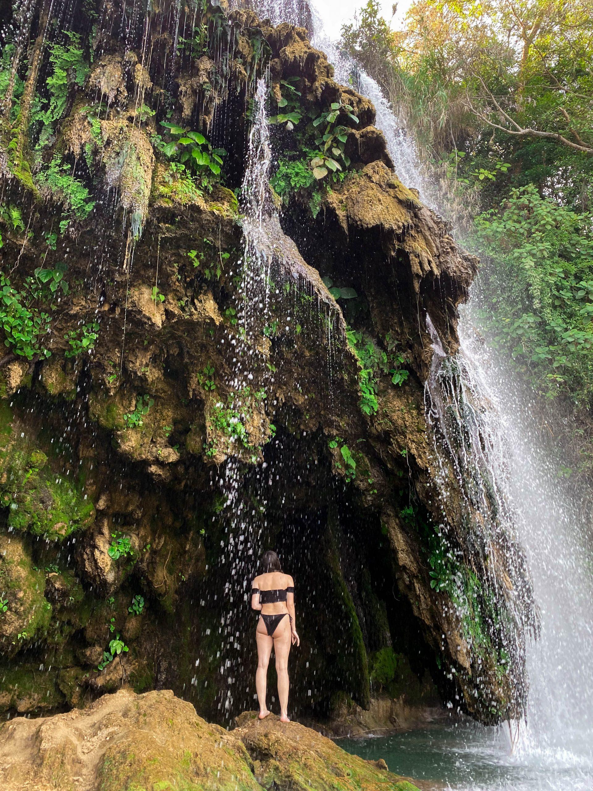Cascadas de Tamasopo waterfall cave outdoor adventure travel la huasteca potosina san luis potosi mexico woman black bikini