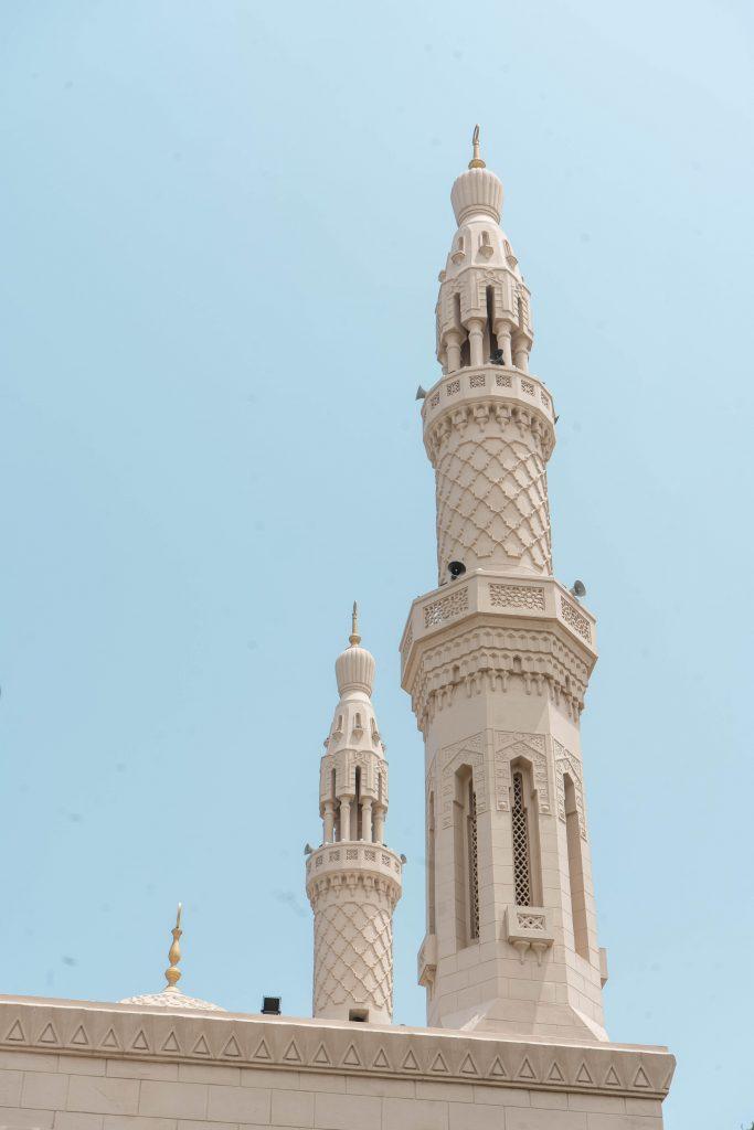 beige minaret masjid mosque dubai united arab emirates